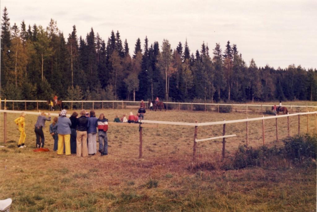 De första ridlektionerna i Nordmalings Ridklubb ht 1977